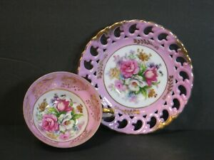 Vtg Royal Sealy China 3 Footed Cup Reticulated Saucer Floral Roses Pink Gold
