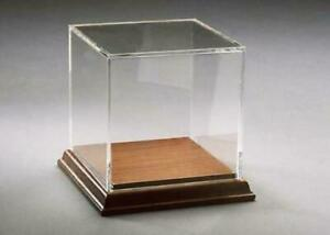 Acrylic Box Case With Walnut Base Display Collectibles Models Geodes Artwork