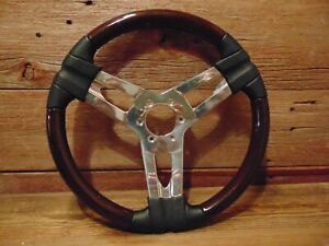 Vintage Steering Wheel Chrome Black Hot Rod Rat Rod Muscle Car Classic