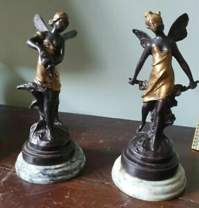 Pair Of Signed Bronze Fairy Figuerines On Marble Plinth After Auguste Moreau