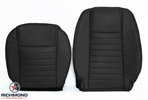 2006 2007 Ford Mustang V8 Driver Side Bottom Lean Back Leather Seat Covers Black