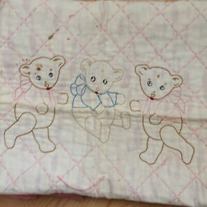Antique Vtg Baby Crib Quilt Hand Quilted Embroidered Bears Ivory Pink 52x34