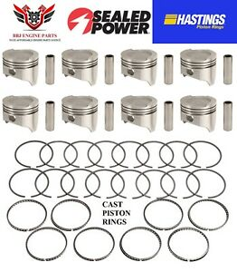 Ford 400 Modified V8 Sealed Power Dish Top Pistons 8 With Hastings Rings 71 82