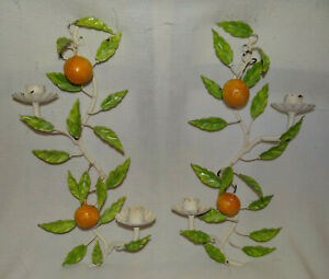 Italian Tole Candle Sconces With Oranges