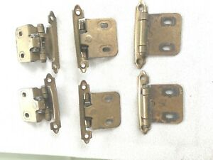 Lot Of 6 K B Homes Cabinet Door Hinges 7128 Metal Brass 2 Cent Holes Vtg