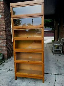 Vintage Globe Wernicke Sectional Bookcase 6 Stackable Golden Oak Original