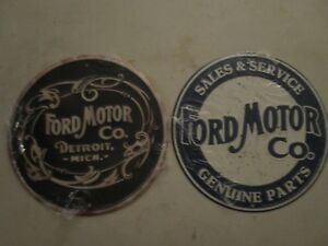 Tin Metal Dealership Home Garage Repair Shop Man Cave Decor Ford Service 2pc Set