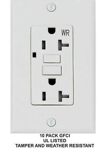 15 Amp Gfci gfi Receptacle Outlet tamper Resistant Wr White Ul Gfci 10pack