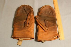 Vintage Pair Lineman Wells Lamont Large Leather Work Mittens