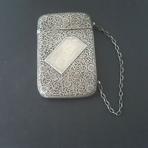 Antique Whiting Manufacturing Co Sterling Silver Card Case Scroll Design