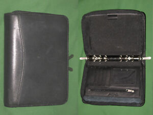 Compact 0 75 Black Italian Leather Bellino Planner Binder Franklin Covey 9622