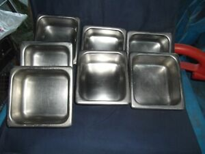 Stainless Steel Restraunt 7pc Lot steam Table Pans 6 X 5 1 2 X 2 1 2 Good Cond