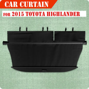 For 15 18 Toyota Highlander Retractable Rear Truck Luggage Shade Cargo Cover Blk