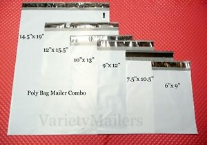 30 Poly Bag Mailer Variety Pack 6 Small To Large Sizes Plastic Shipping Bags