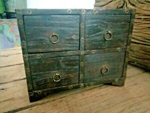 Vintage Old Wooden Spice 4 Draw Small Tribal Cabinet Fine Brass Iron Work