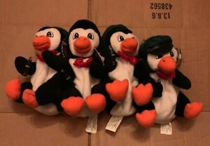 Lot Of 4 Coca Cola Cookie Jar ~ 1997 Delivery Man Penguin With Bottles In Hand