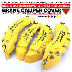 4pcs Universal Sport Style Disc Brake Caliper Cover Front Rear Yellow L M Lw02
