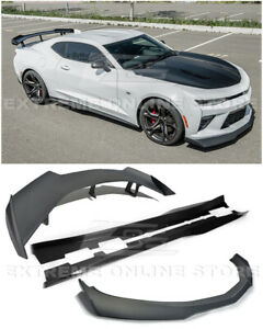 For 16 up Camaro Ss Zl1 1le Style Front Lip Splitter Side Skirts Rear Spoiler