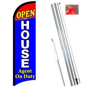 Open House Agent On Duty Premium Windless Polyknit Feather Flag With Bundle Opti