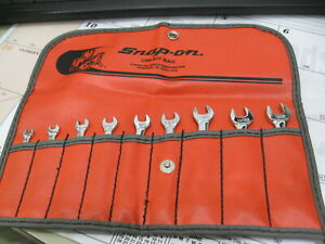 Snap On Tools 9 Pc Sae 6 Pt Midget Wrench Set Oxi709 In C90 Kit Bag Vintage Mint
