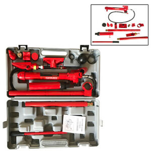 10 Ton Porta Power Hydraulic Jack Shop Body Frame Repair Tool Kit Red