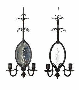 Pair Vintage 1920 S Bronze Candle Sconces With Etched Mirror Backs