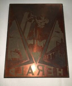 Letterpress Printing Block Wood Copper Metal Type Art Deco New Age Herald