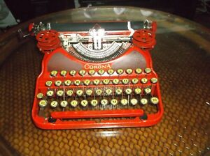 Antique Vintage Rare Red 1930s Corona Manual Typewriter Serviced