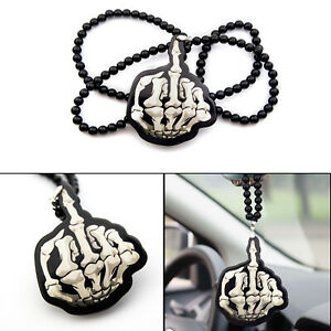 Mad Bone Skull Middle Finger Pendant Necklace Car Decal Rearview Mirror Hanging