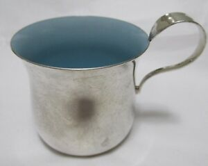 Sterling Silver Baby Cup Blue Enamel Lining Reed Barton Pointed Antique Pattern