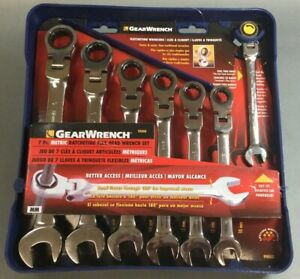 Gearwrench 7 Piece Flex Head Ratcheting Combination Wrench Set Metric Brand New