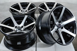 15x8 4x100 Black Wheels Fits Honda Civic Mini Cooper Miata Yaris Mr2 4 Lug Rims