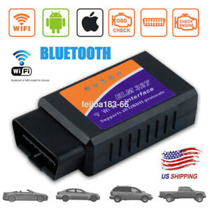 Elm327 Wifi Bluetooth Obd2 Ii Car Diagnostic Scanner Code Reader For Android Ios