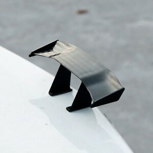 1x Carbon Fiber Black Car Mini Tail Spoiler Wing Decoration Sticker Accessories