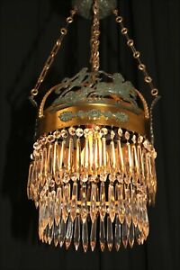 Vintage European Roman Empire Style Chandelier Crystal Copper Bronze