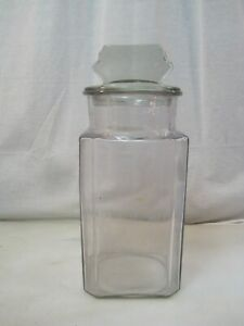 Antique Country Drug Store Pepsin Candy Apothecary Jar With Glass Lid B0730