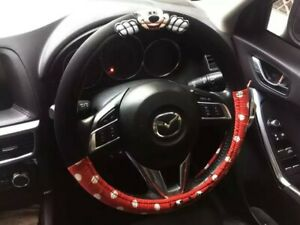 Minnie Mouse Car Steering Wheel Cover Black And Red Polka Dot Cute Interior