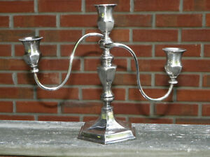 Vtg 12 1 2 Silverplate 3 Arm Hexagonal Candelabra Is Crown Silver 3703 Beaded