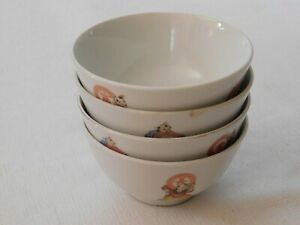 Lot Of 4 Antique Chinese 567 Painted Porcelain Bowls Marked