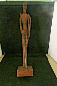 Vintage Rare Tall Standing Wooden Soldier With Spear And Shield Hand Carved