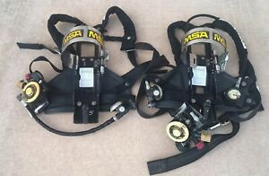 Msa Air Mask Air Tank Harness Firefighter Scba Self Contained Breathing Two