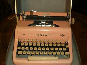 Authentic Vintage Antique 1950s Royal Bubble Gum Pink Manual Typewriter