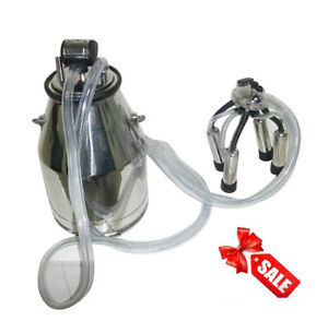 Safety Stainless Steel Cow Milker Goats Milking Machine Vacuum Pump 25l New Sale