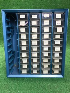 Vtg Akro mils 50 Drawer Metal Storage Cabinet Parts Tools Bin Box Wall Mount Blu