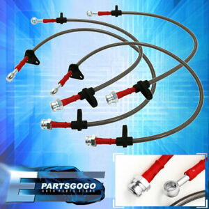 90 93 Integra Front Rear Stainless Steel Hose Oil Brake Line Cable Red Cap