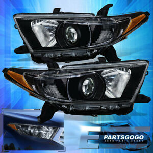 For 2011 2012 2013 Toyota Highlander Black Amber Headlights Factory Style Pair