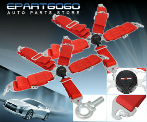 3 Red 5 Point Pt Camlock Harness Racing Quick Latch Seat Belts Pair Wrx Sti Evo