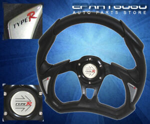 Honda 320mm Racing Pvc Leather Steering Wheel All Black With Jdm Horn Button