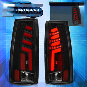 For 1988 1998 Chevy Gmc C10 Black Housing Red Led Tube Style Tail Light Lamps
