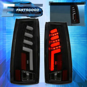 For 88 98 Chevy Gmc C10 C K 1500 2500 Led Brake Tail Lights Lamps Black Smoked